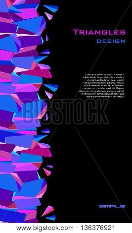 Vertical blue abstract geometric border background design. Blue, pink, purple geometric abstract triangles border design on black background. Blue stripe triangles vector illustration stock vector.