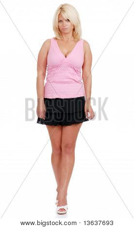 mature woman wearing short skirt and pink top