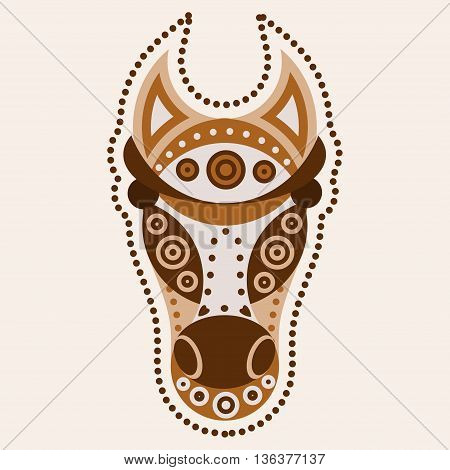 Horse mustang head with tribal ornament decoration. Vector illustration of tribal mascot for tattoo print mask
