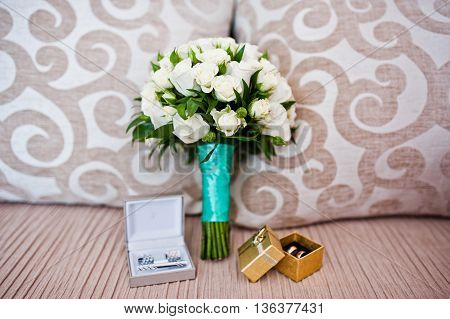Wedding Bouquet With Boxes With Rings And Cuff Links