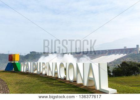 IGUAZU, BRAZIL - CIRCA JUNE 2016: Itaipu Dam in Iguazu, Brazil