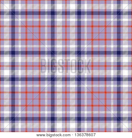 Seamless tartan plaid pattern in navy blue, white & red twill stripes on violet background.