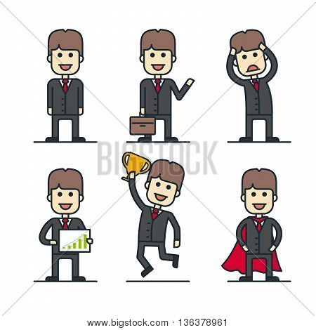 Set of businessman characters in different poses. Flat line style