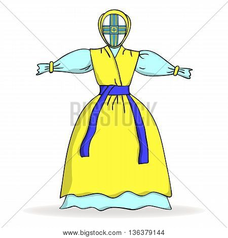 Traditional Ukrainian yellow and blue doll. Vector illustration.