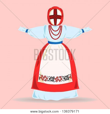 Traditional Ukrainian blue and red doll. Vector illustration.