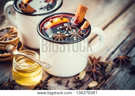 Mulled Wine In Mugs, Dry Spice And Honey Jar.