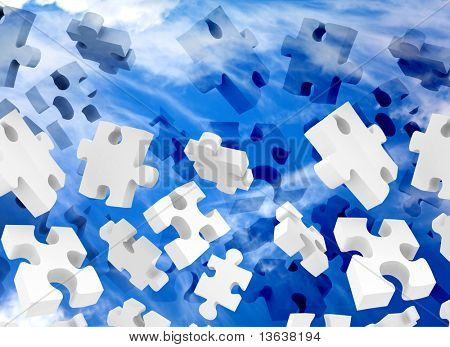 illustration of puzzle pieces falling over a blue sky