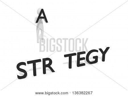 Missing letter with 3d man: Strategy 3d illustration