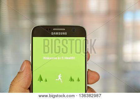 MONTREAL CANADA - JUNE 24 2016 : Samsung S Health application on Samsung S7 screen. S Health is an app helping to track daily activities and improve overall fitness health and lifestyle.