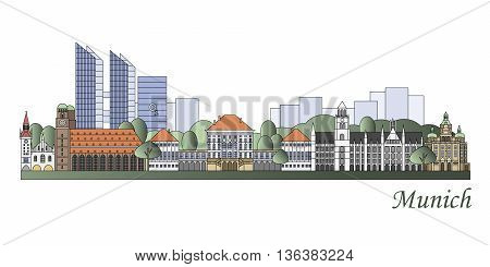 Munich Skyline Colored