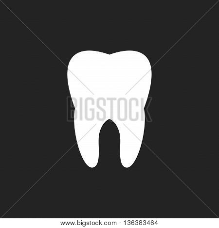 Tooth icon in flat style isolated on black background. Health, medical or doctor and dentist office symbols. Oral care, dental icon clinic white tooth.