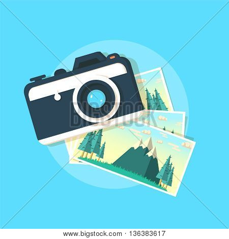 Camera with photos. Camera with photographs in flat style.