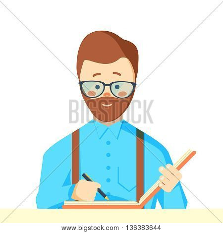 Reporter with writing-pad. Man writing report. Businessman writing document vector illustration.