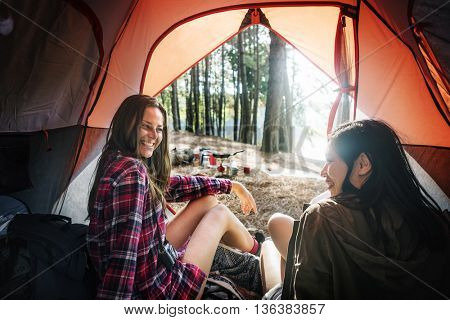 Backpacker Camping Hiking Journey Travel Trek Concept