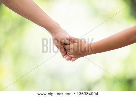 Hands of the mother and baby. Walk hand in hand. Symbolic warmth of family Displaying the love of family, mother and children.On blurred background bokeh nature.