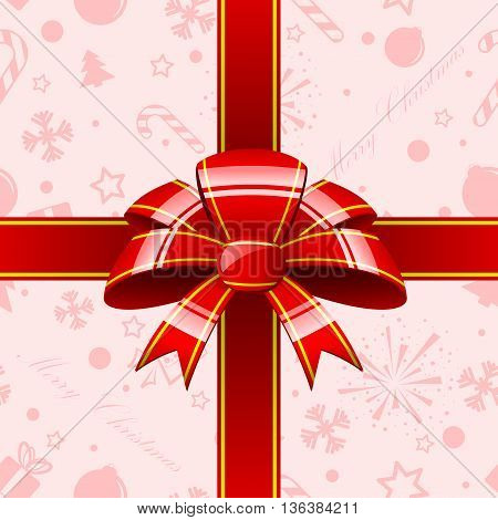 Abstract red background with red strippes and red bow