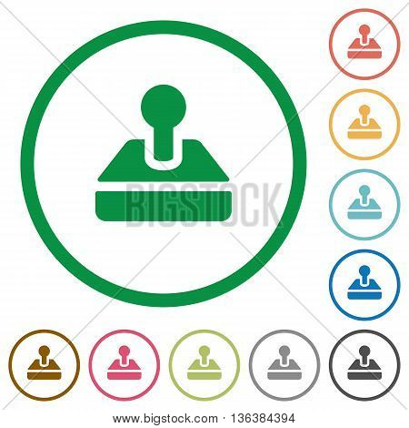 Set of Joystick color round outlined flat icons on white background