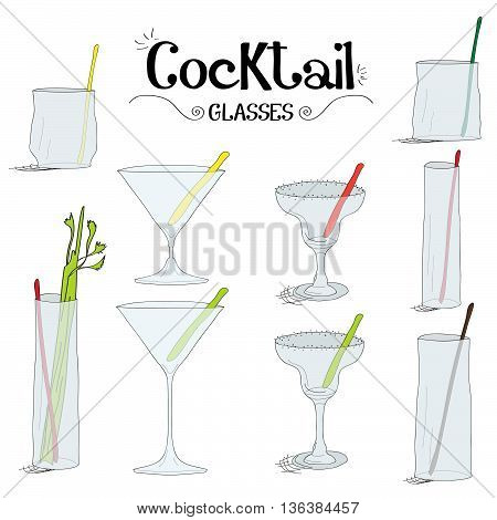 Cocktail glasses board set with ingredients for restaurants and bar business vector illustration
