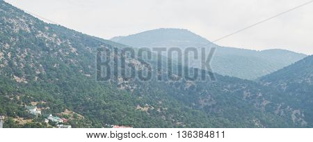 view of the mountains covered with greenery in the haze