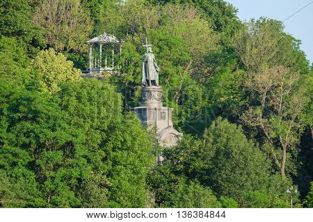 Ukraine. Kiev. Vladimir Hill. Monument to the Great Prince Vladimir, above the the place where he performed the baptism of the Russian people.