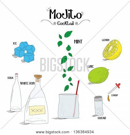 how to make a Mojito cocktail set with ingredients for restaurants and bar business vector illustration