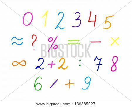White background with colorful numerals and symbols hand draw