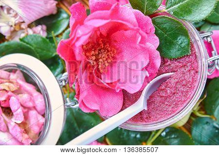 Home made rose petal jam. Rose preserve