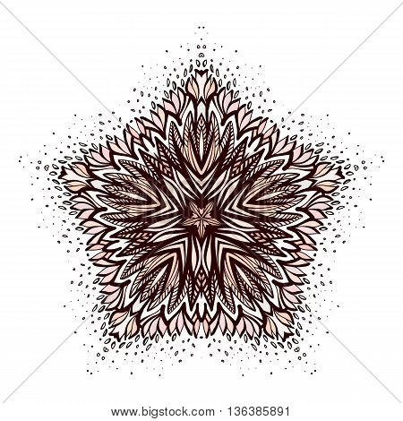 Ornamental Round Floral Pattern with Vintage Elements for Design