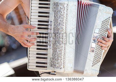 The man playing an accordion. Accordion closeup.