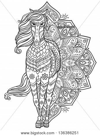 Ornament Horse vector. Beautiful illustration Horse for design, print clothing, stickers, tattoos, Adult Coloring book. Hand drawn animal illustration. Bohemian Horse lace
