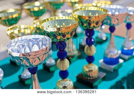 Gold and silver cups for a victory in sports competitions.