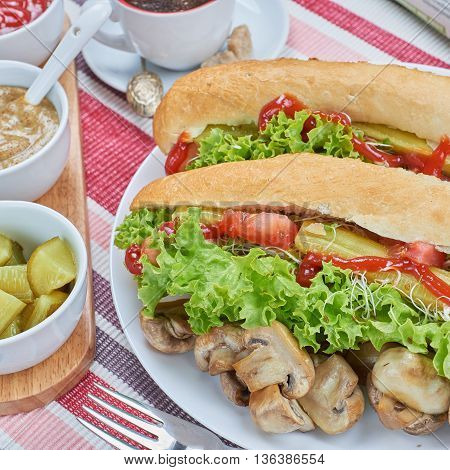 Healthy breakfast. Home made hot dogs with vegetables