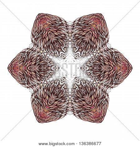 Ornamental Round Floral Pattern Henna Hand Drawn Background
