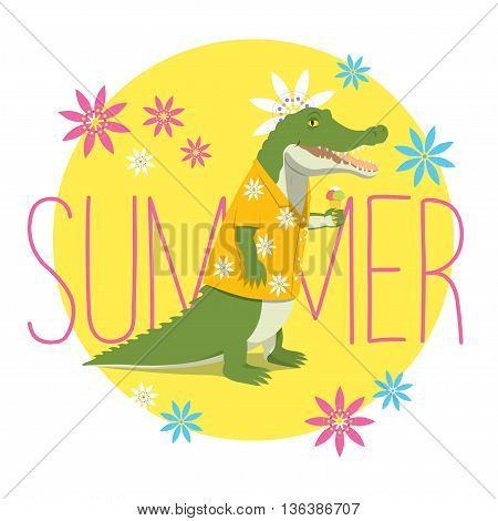 Vector illustration of a happy crocodile in a yellow Aloha shirt standing, holding an icecream and smiling. Yellow circle with flowers and the word Summer on the backround.
