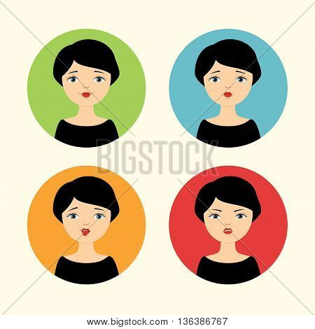 Set of vector avatars. Pretty girl with different facial expressions - smiling, crying, mocking and angry.
