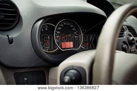 car dashboard Display or Speedometer close up