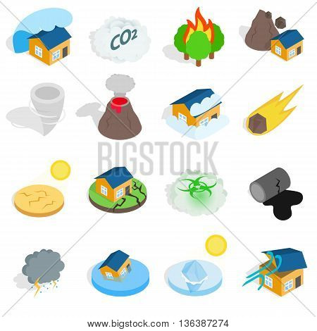 Natural disaster catastrophe icons set in isometric 3d style. Vector illustration