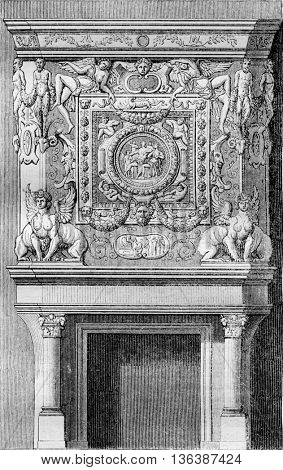 Fireplace to the King's apartment in the Chateau of Fontainebleau