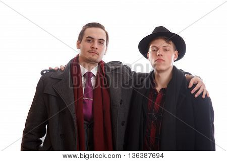 Two well dressed men on white background