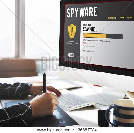 Spyware Computer Digital Firewall Phishing Concept
