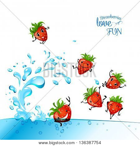 Strawberries love fun. Strawberry character having fun in a water. Food illustration.