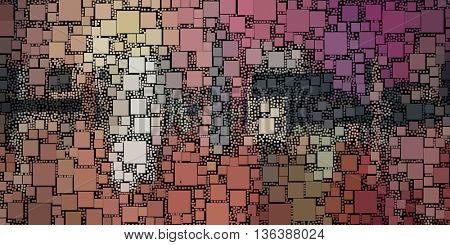 abstract painting of square shapes