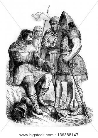 Soldiers under Charlemagne from Grass after, vintage engraved illustration. Magasin Pittoresque 1843.