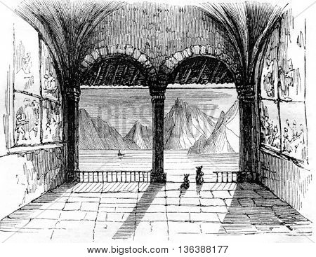 Inside view of the chapel of William Tell, the lake Lucerne, vintage engraved illustration. Magasin Pittoresque 1843.