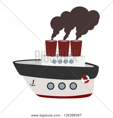 Big cartoon steamboat with anchor, life ring and steam. Isolated vector illustration.