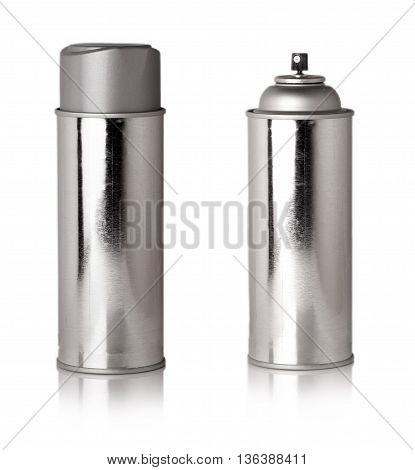 shiny metallic bottle with sprayer carved on a white background