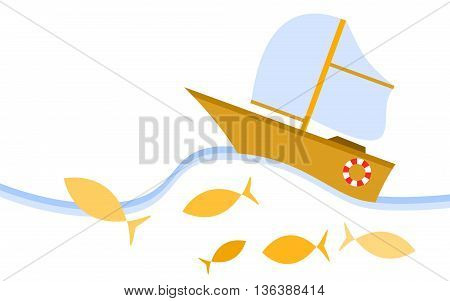 Yellow cartoon style sailboat. The boat is sailing in the sea among fish. Vector illustration.