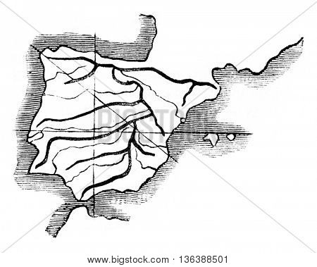 The Northwest Profile southeast still gives the same result, vintage engraved illustration. Magasin Pittoresque 1843.
