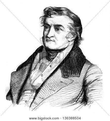 Portrait of Sismondi, and facsimile of his signature, vintage engraved illustration. Magasin Pittoresque 1843.