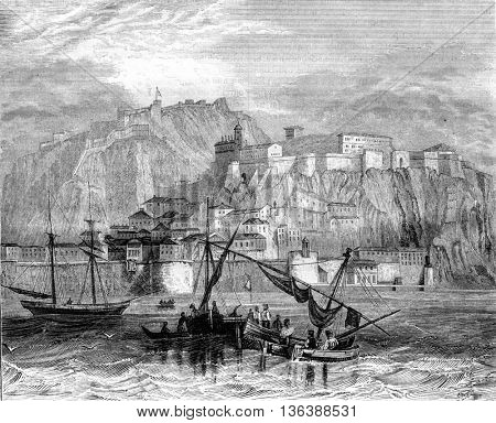 Nafplion Romania, vintage engraved illustration. Magasin Pittoresque 1843.